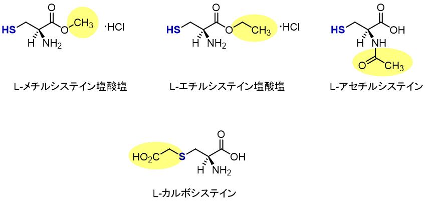 メチルシステイン、エチルシステイン、アセチルシステイン、カルボシステインの構造の違い